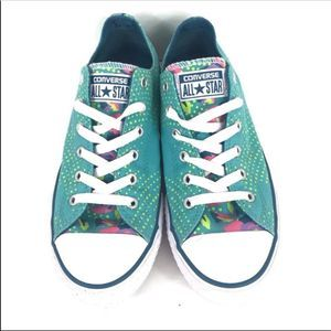 Converse All Star Shoes Teal Polka Dots Floral 5